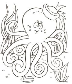 Octopus color page, animal coloring pages, color plate