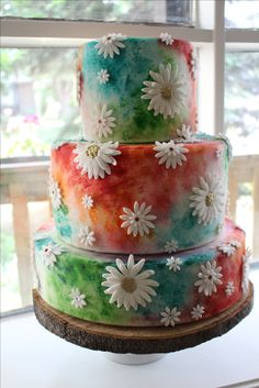 A Tie Dye Wedding Cake For This Whimsical Wedding Cakes