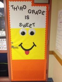 Candy corn door decorations! Cute!
