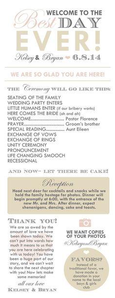 Cute #wedding progra