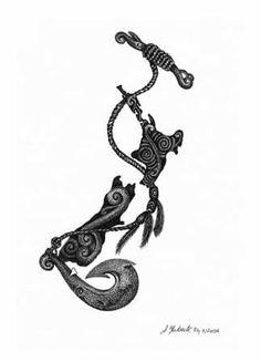 Manaia (head of bird & human body & fish tail) to