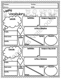 Blank Vocabulary Terms Definitions and Sentences Worksheet