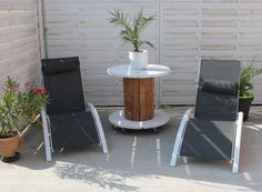 duo de bains de soleil louisa en aluminium et textilene gris structure blanche transat