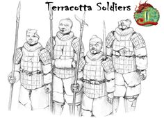 Coloring page Chinese warriors; Lovely line art- my