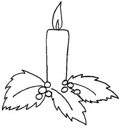 Candle pattern. Use the printable outline for crafts