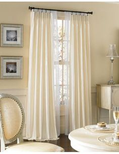 FRENCH TWO FINGER PLEATED DRAPE And SHEER DRAPE