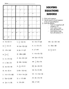 Solving Equations with Variables on Each Side Puzzle
