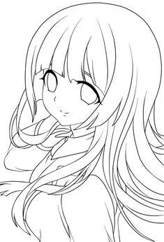 Cute anime girl lineart by chifuyu-san on DeviantArt