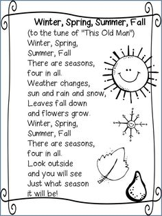 Poem: Four Seasons This poem will introduce each of the