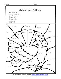 Thanksgiving math, Thanksgiving math worksheets and Color