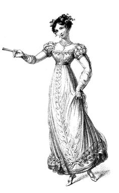German and French Empire fashion 19th Century. Costumes of