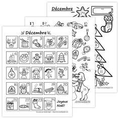 un calendrier de l'avent à colorier http://cliscachart