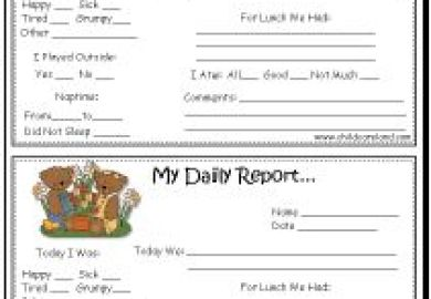 Toddler Daily Report Information