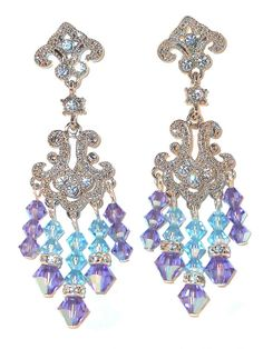 Swarovski Crystal Chandelier Earrings Handcrafted Tanzanite Purple Aquamarine Blue Formal Prom Pageant
