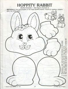 Easter bunny paper bag puppet template