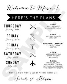 1000+ ideas about Wedding Weekend Itinerary on Pinterest