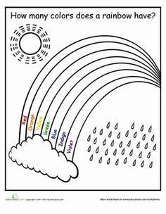 Printable Color the Rainbow Kindergarten Worksheet