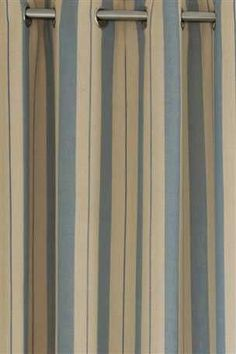 Buy Blue And Natural Woven Stripe Eyelet Curtains From The Next UK