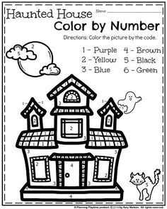 Halloween Colouring Activities and Haunted House Number