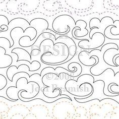 clouds continuous line digital quilting design