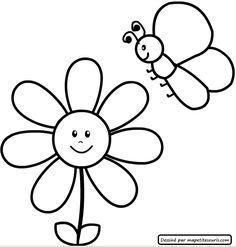 Desenho simples de flor colori. Risco de flor. Desenho