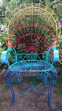 Vintage Large Wrought Iron Peacock Chair Patio Porch Swing