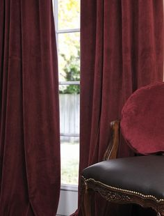 Exclusive Fabrics Claret Red Vintage Cotton Velvet Curtain By