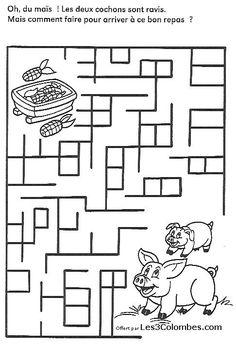 Doolhof puzzel. Zorg dat het hondje bij het bot komt. #