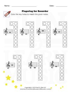 This is a PDF file of a colorful recorder finger chart I
