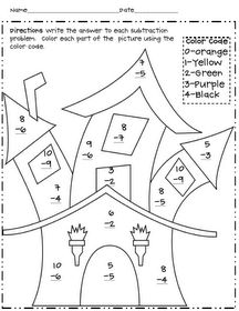 Halloween Multiplication Color By Number Worksheets