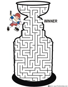 Coloring Page of NHL Hockey Stanley Cup Trophy. You Can