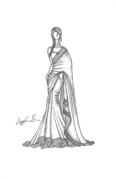 I love this sketch. I love sketches, I love Indian dresses
