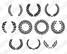 Laurel Leaf Wreath Monogram Collection SVG and Silhouette