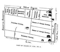 Map of Salem Village in 1692. Salem witch trials