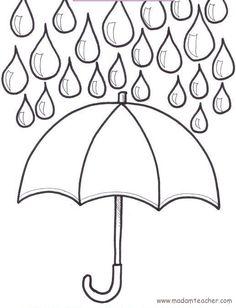 Kleurplaat herfst, regen, paraplu, kleuteridee.nl , autumn