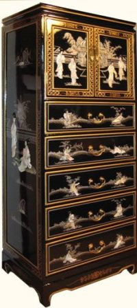 Shiny Black & Pearl Inlaid Oriental Dresser With 4 Drawers ...