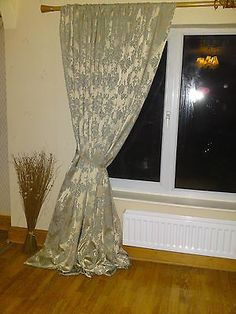 LAURA ASHLEY CATHCART DUCK EGG 100 SILK MADE TO MEASURE CURTAINS