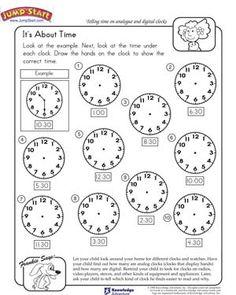 Worksheet containing 9 analogue clocks showing o'clock