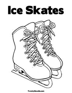 Ice skate pattern. Use the printable outline for crafts