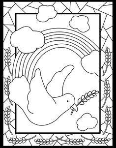 Coloriage sur le thème de la paix, quatre lettres pour la