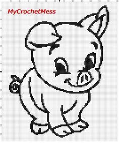 Free Filet Crochet Charts and Patterns: Filet #Crochet Pig