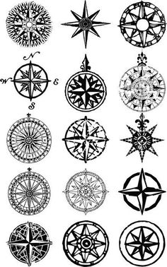 Compass Rose Pack Cuttable Design Cut File. Vector