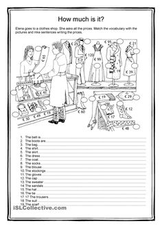 Vocabulary worksheet containing CLOTHES. It has two