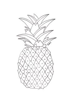 Pineapple fruits coloring pages for kids, printable free