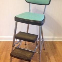 Old Fashioned Kitchen Chair Step Stool Making Cabinet Doors Vintage Chrome Green Metal Retro Side Table ...