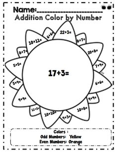Addition color by number part of 32 page common core