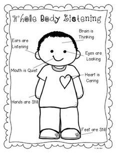 Whole Body Listening Coloring Page Sketch Coloring Page
