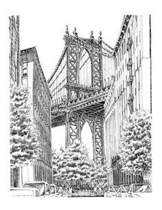 york drawing drawings nyc sketch sketches pencil bridge architecture manhattan town building urban sketching zeichnen bridges dibujos dibujo unique ideen