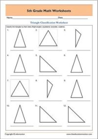 4th grade, 5th grade Math Worksheets: 4 types of triangles ...
