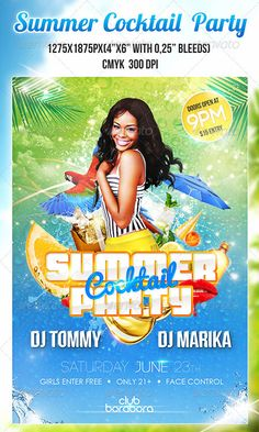 Tropical Summer Beach Pool Flyer Poster Template Free Club